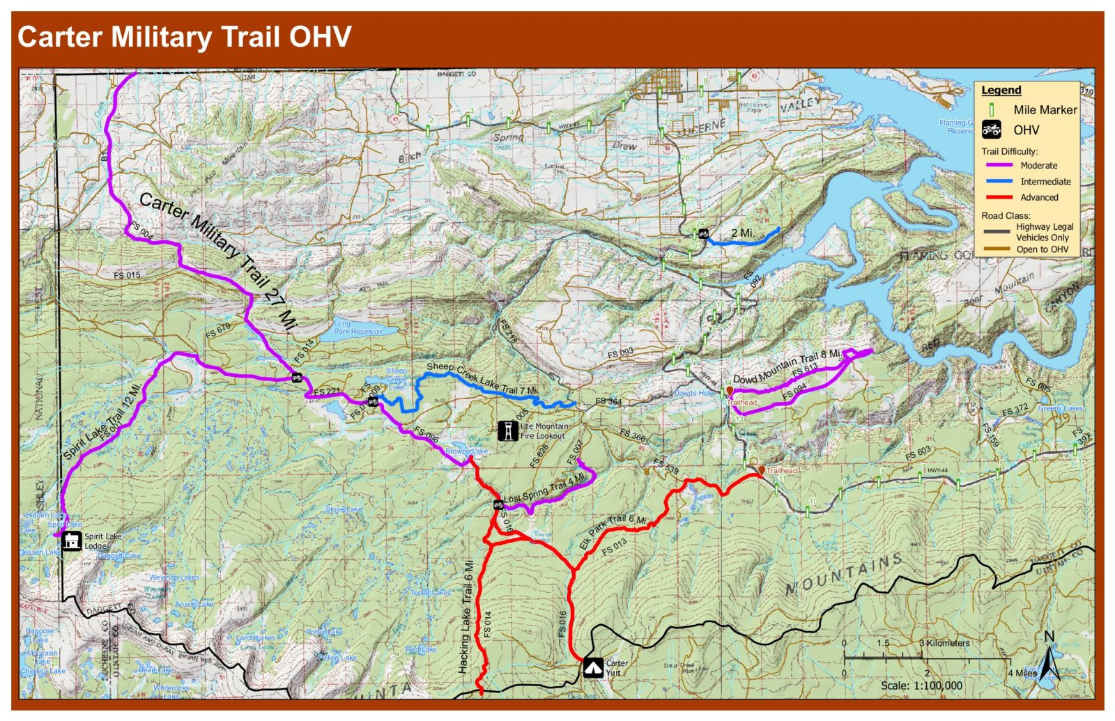 Carter Military Trail OHV Map Flaming Gorge