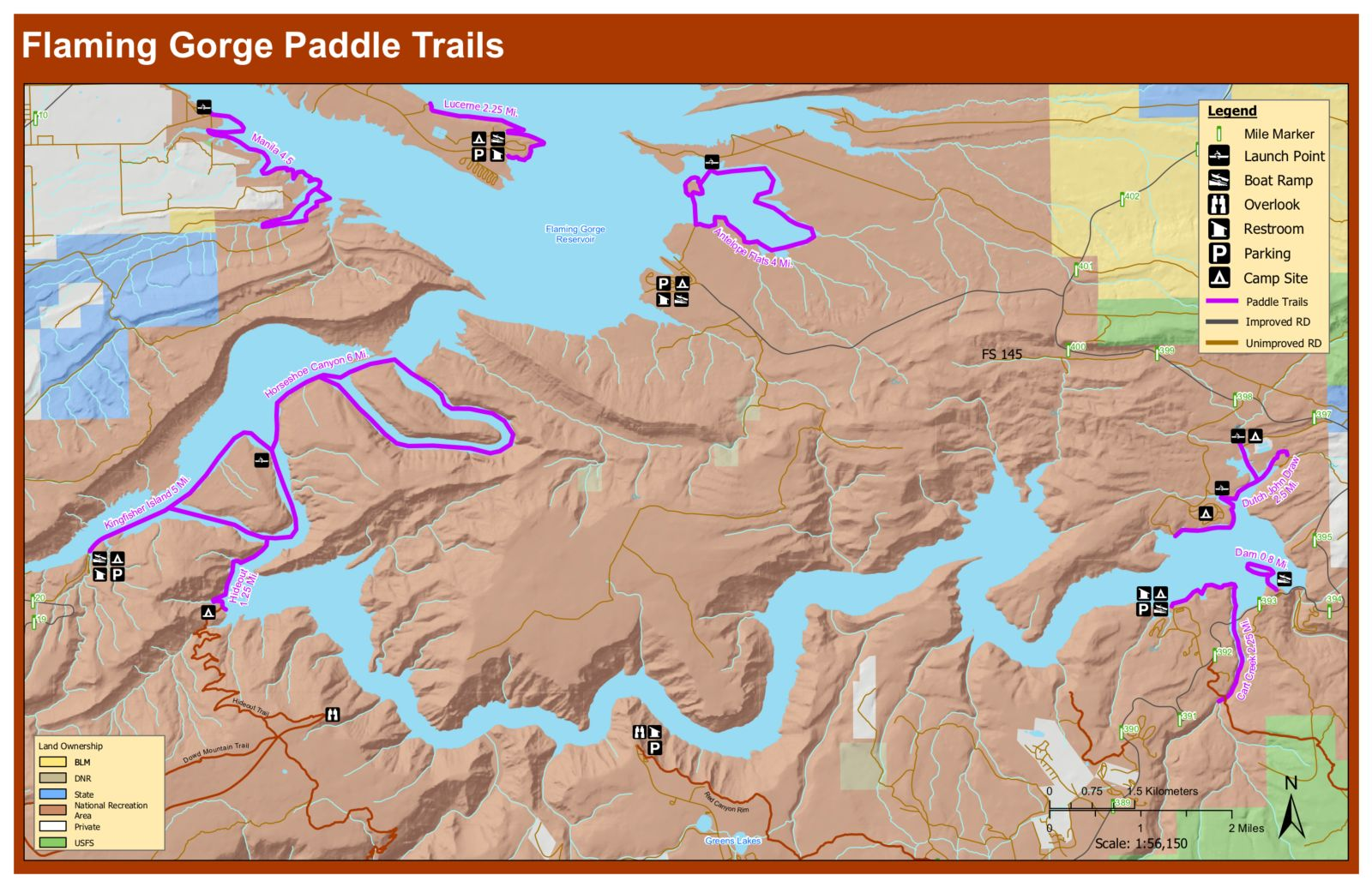 flaming gorge paddling trails Map