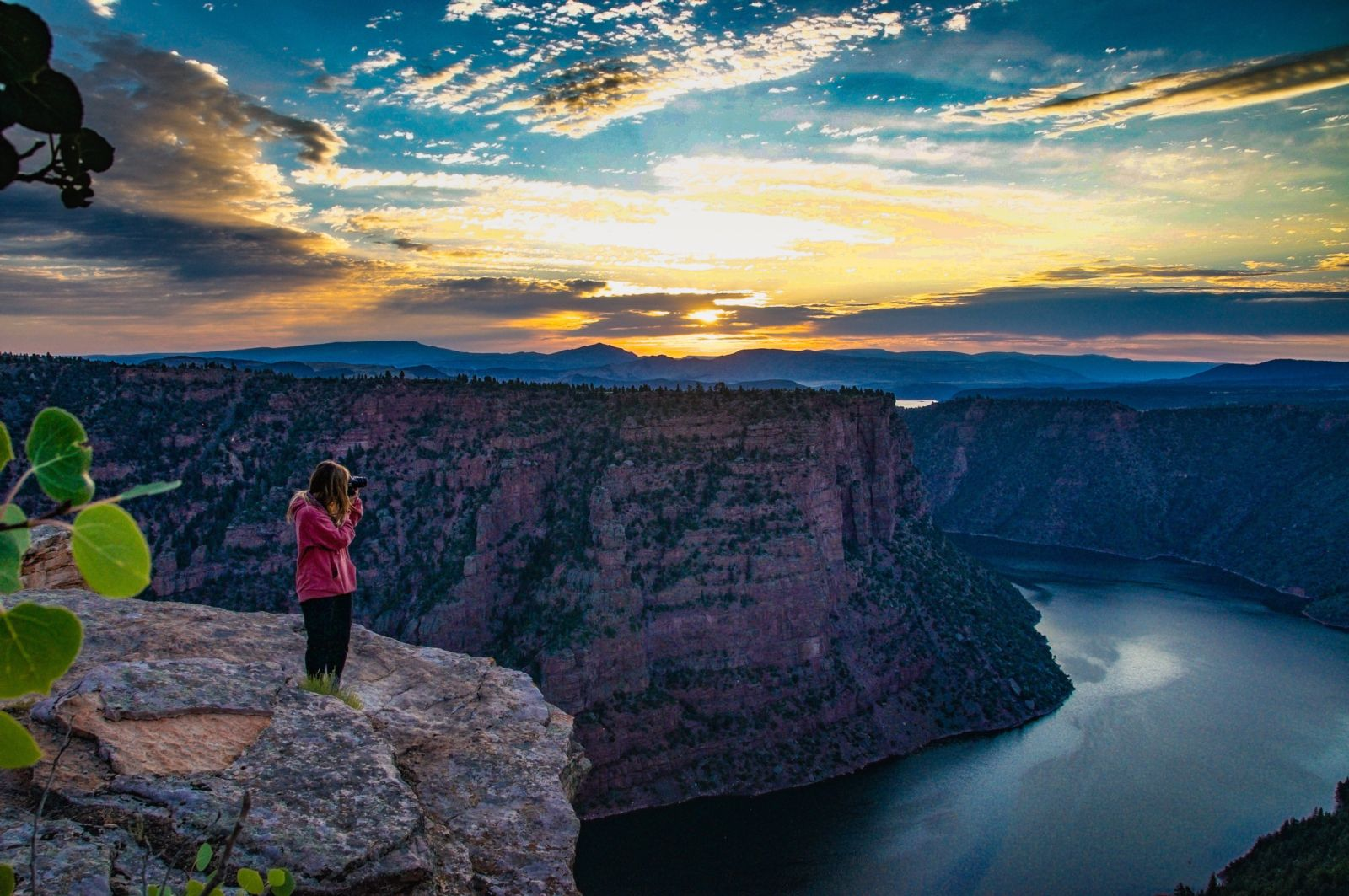 Photographers shooting the sunrise over Red Canyon in Flaming Gorge